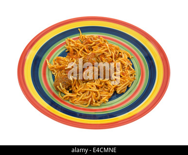 A serving of spaghetti and meatballs on a colorful plate isolated on a white background. - Stock Photo
