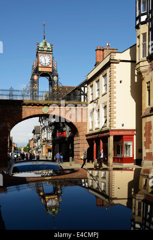 The Eastgate Clock in Chester city centre UK - Stock Photo