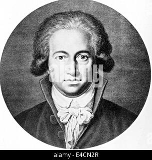 JOHANN WOLFGANG von GOETHE (1749-1832) German writer and statesman in a 1791 engraving - Stock Photo