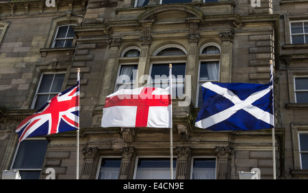 Union Jack with two of its component flags, St George and St Andrew - Stock Photo