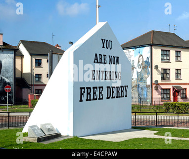 Free Derry Corner is a historical landmark in the Bogside neighborhood of Londonderry, County Derry, Northern Ireland, - Stock Photo