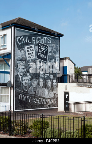 Civil Rights mural, Londonderry, County Derry, Northern Ireland, United Kingdom. - Stock Photo