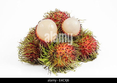 Rambutan is a fruit with sweet isolated on white background - Stock Photo
