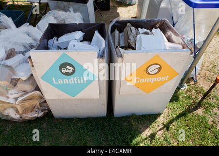 Landfill and compost refuse boxes at an outdoor event - USA - Stock Photo