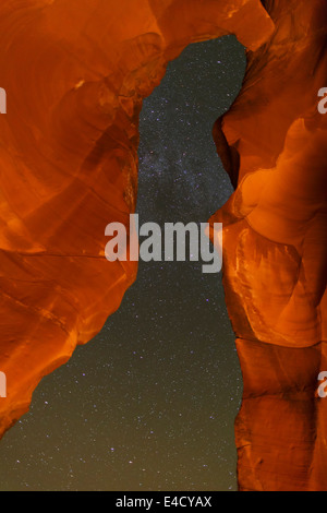 Night sky in Upper Antelope Slot Canyon, Navajo Park Land, Page, Arizona. - Stock Photo