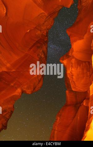 Night sky in Upper Antelope Slot Canyon, Navajo Park Land, Page, Arizona. - Stock Photo