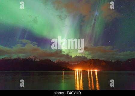 Aurora borealis over Resurrection Bay, Seward, Alaska - Stock Photo