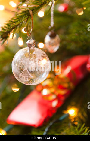 Detail of glass Christmas bauble - Stock Photo