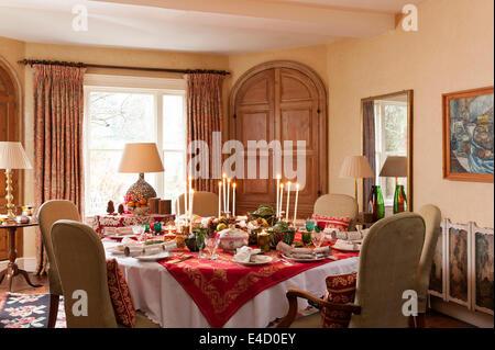 Victorian Christmas Dinner Table Setting Stock Photo