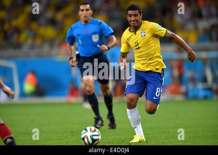 Belo Horizonte, Brazil. 8th July, 2014. Paulinho (BRA) Football/Soccer : FIFA World Cup 2014 semi-finals match between - Stock Photo