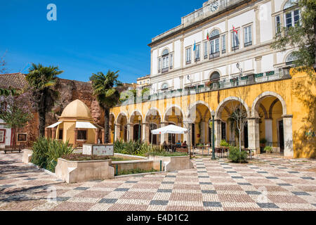 City Hall and Praça do Municipio, Silves, Algarve, Portugal, Europe - Stock Photo