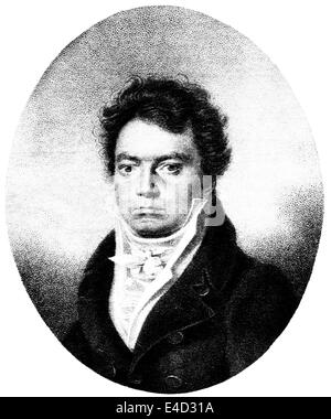 Ludwig van Beethoven, German composer, in 1814, historical print, 1874 - Stock Photo
