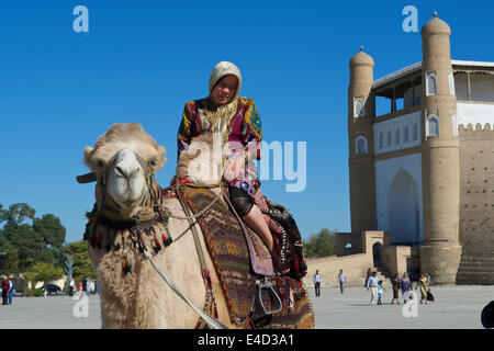 Local tourist on a camel in front of the Ark fortress, Bukhara, Uzbekistan - Stock Photo