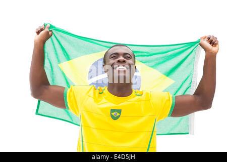 Happy brazilian football fan cheering holding flag - Stock Photo