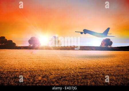 Composite image of airplane taking off - Stock Photo