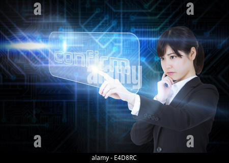 Businesswoman pointing to word confirm - Stock Photo