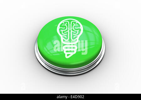 Composite image of light bulb with brain inside graphic on button - Stock Photo