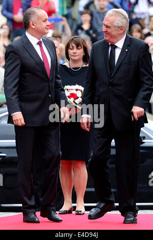 Prague, Czech Republic. 9th July, 2014. Czech president Milos Zeman (right) meets his Slovak counterpart Andrej - Stock Photo