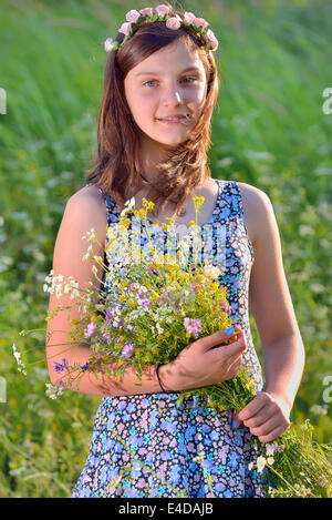 portrait of teenage girl in nature - Stock Photo
