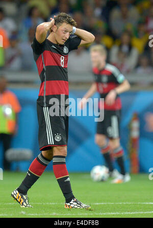 Belo Horizonte, Brazil. 8th July, 2014. Germany's Mesut Oezil reacts during the FIFA World Cup 2014 semi-final soccer - Stock Photo