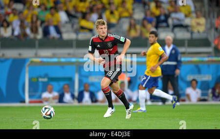 Belo Horizonte, Brazil. 8th July, 2014. Germany's Toni Kroos controls the ball during the FIFA World Cup 2014 semi - Stock Photo