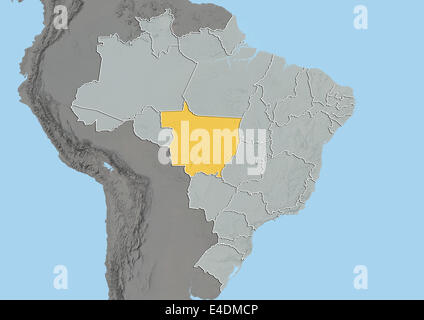 State of Mato Grosso, Brazil, Relief Map - Stock Photo
