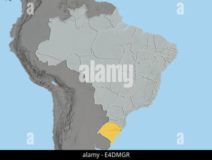 State of Rio Grande do Sul, Brazil, Relief Map - Stock Photo