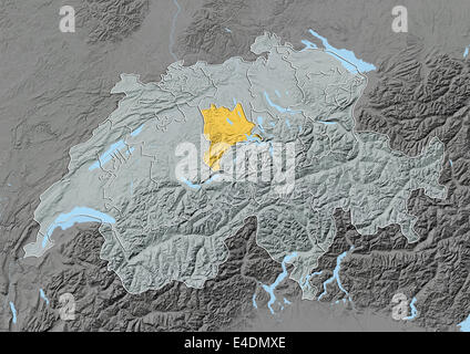 Switzerland and the Canton of Lucerne Relief Map Stock Photo