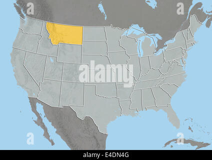 State Of Montana United States Relief Map Stock Photo Royalty - United states map montana