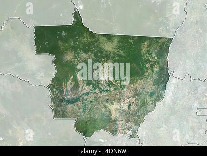State of Mato Grosso, Brazil, True Colour Satellite Image - Stock Photo