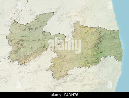 State of Paraiba, Brazil, Relief Map - Stock Photo