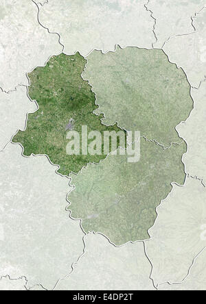 Departement of Haute-Vienne, France, True Colour Satellite Image - Stock Photo