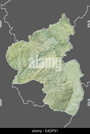 State of RhinelandPalatinate Germany Relief Map Stock Photo