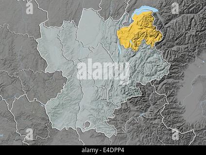 Departement of Haute-Savoie, France, Relief Map - Stock Photo
