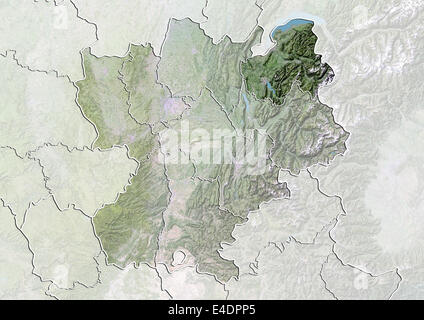Departement of Haute-Savoie, France, Satellite Image With Bump Effect - Stock Photo