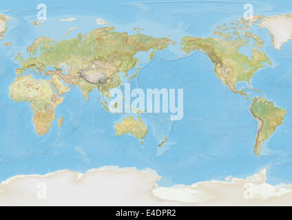 World Map Centred On Pacific Ocean   Stock Photo