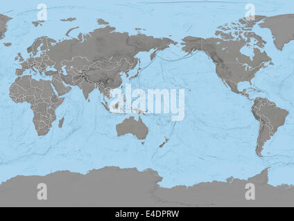 World map centred on pacific ocean with country borders stock photo world map centred on pacific ocean with country borders stock photo gumiabroncs Images