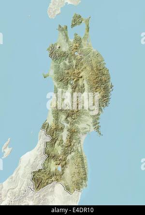 Region of Tohoku, Japan, Relief Map - Stock Photo