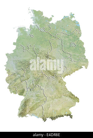 Germany, Relief Map With State Boundaries - Stock Photo