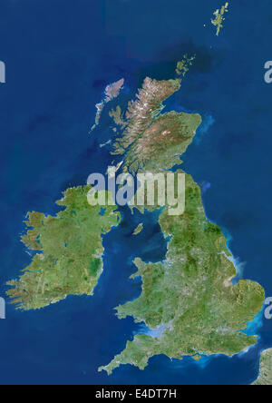 British Isles, True Colour Satellite Image. British Isles, satellite image. The island of Great Britain comprises - Stock Photo