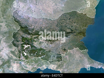 Bulgaria, Europe, True Colour Satellite Image With Border And Mask. Satellite view of Bulgaria (with border and - Stock Photo
