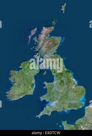 United Kingdom, Europe, True Colour Satellite Image With Border. Satellite view of Bulgaria (with border). This - Stock Photo