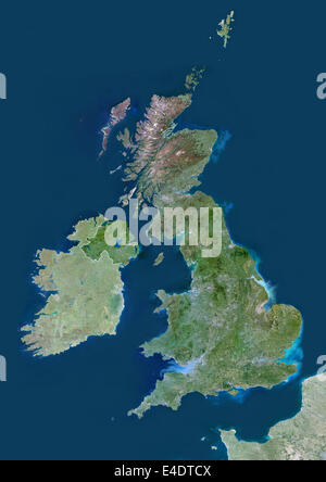 United Kingdom, Europe, True Colour Satellite Image With Border And Mask. Satellite view of the United Kingdom (with - Stock Photo