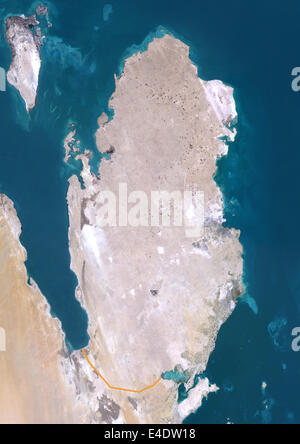 Qatar, Middle East, Asia, True Colour Satellite Image With Border. Satellite view of Qatar (with border). This image - Stock Photo