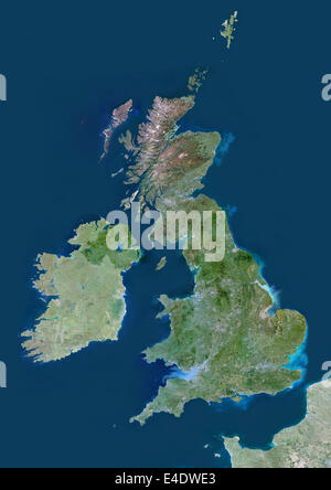 United Kingdom, Europe, True Colour Satellite Image With Mask. Satellite view of the United Kingdom (with mask). - Stock Photo