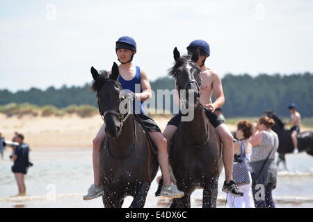 Household cavalry beach ride - Stock Photo