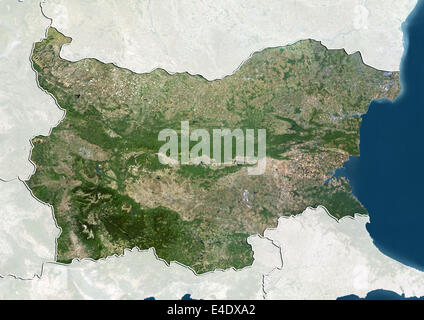 Bulgaria, True Colour Satellite Image With Border and Mask - Stock Photo