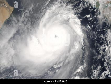 Cyclone Gonu, Arabian Sea, In 2007, True Colour Satellite Image. Tropical Cyclone Gonu in the Arabian sea, reaching - Stock Photo