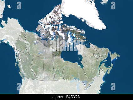 Canada and the Territory of Nunavut, True Colour Satellite Image - Stock Photo