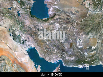Iran, True Colour Satellite Image With Border - Stock Photo